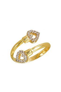 Δαχτυλίδι Χρυσό Με Δυο Καρδιές
