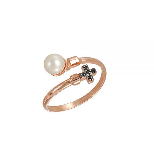 Δαχτυλίδι Ροζ Χρυσό Με Μαργαριτάρι Και Σταυρό Με Μαύρα Ζιργκόν ... f107cca8bdd