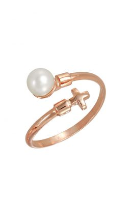 Δαχτυλίδι Ροζ Χρυσό Με Μαργαριτάρι Και Σταυρό