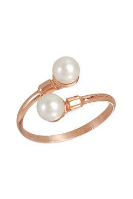 Δαχτυλίδι Ροζ Χρυσό Με Μαργαριτάρια