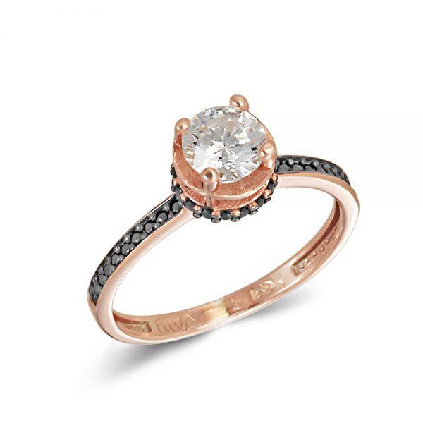 Ροζ Χρυσό Μονόπετρο Δαχτυλίδι - XrisiGonia b3cdef27213
