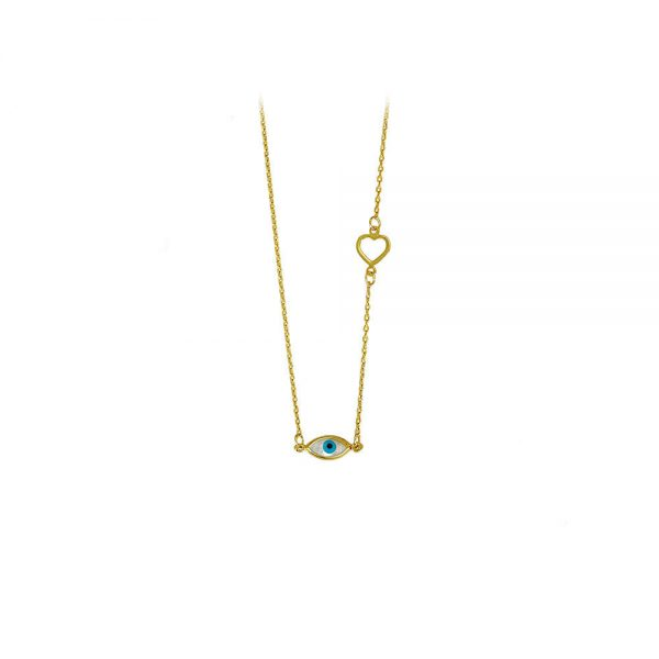 Γυναικείο Χρυσό Κολιέ Με Μάτι και Καρδιά Στο Πλάι - XrisiGonia 3ca467bab57