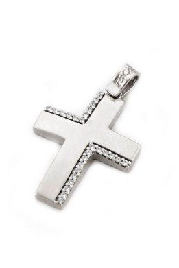 Σταυρός Facad'oro Γυναικείος Λευκός Χρυσός Με Ζιργκόν Πέτρες