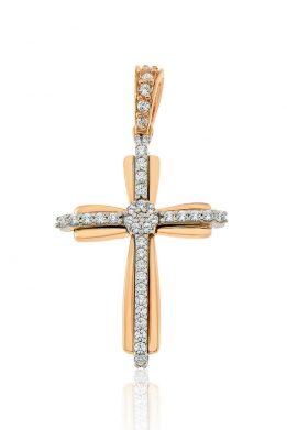 Σταυρός Facad'oro Γυναικείος Δίχρωμος Ροζ Χρυσός Με Λευκόχρυσό και Ζιργκόν