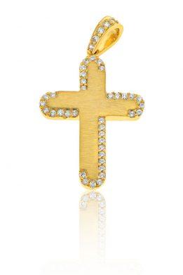 Σταυρός Facad'oro Γυναικείος Κίτρινος Χρυσός Με Ζιργκόν