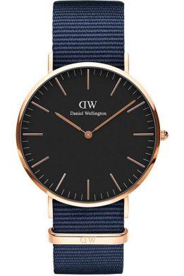 Ανδρικό Ρολόι Bayswater Με Μπλε Λουράκι και Μαύρο Καντράν