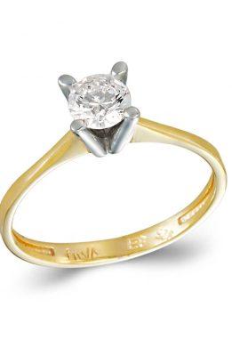 Δίχρωμο Χρυσό και Λευκόχρυσο Μονόπετρο Δαχτυλίδι