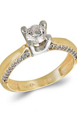 Δίχρωμο Χρυσό Και Λευκόχρυσο Μονόπετρο Δαχτυλίδι Mε Πέτρες στο Πλάι