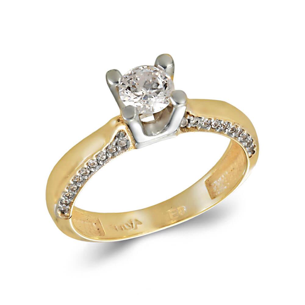 Δίχρωμο Χρυσό Και Λευκόχρυσο Μονόπετρο Δαχτυλίδι Mε Πέτρες στο Πλάι ... 5c13f7823e1