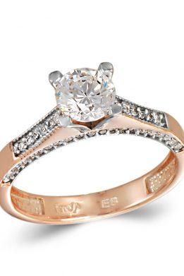 Δίχρωμο Ροζ Χρυσό Και Λευκόχρυσο Μονόπετρο Δαχτυλίδι Mε Πέτρες στο Πλάι
