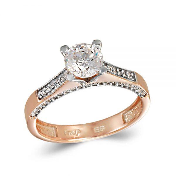 Δίχρωμο Ροζ Χρυσό Και Λευκόχρυσο Μονόπετρο Δαχτυλίδι Mε Πέτρες στο Πλάι b1e4a276995