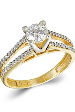 Δίχρωμο Χρυσό Και Λευκόχρυσο Μονόπετρο Δαχτυλίδι Με Πέτρες Δύο Σειρών
