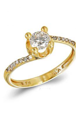 Kίτρινο Χρυσό Μονόπετρο Δαχτυλίδι