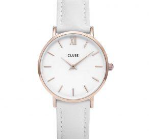 Γυναικείο Ρολόι CLUSE Minuit Με Λευκό Λουράκι