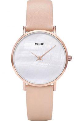 Γυναικείο Ρολόι CLUSE Minuit La Perle Με Ροζ Δερμάτινο Λουράκι