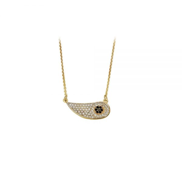 Γυναικείο Χρυσό Κολιέ Modern Eye Λευκό - XrisiGonia 8d288252074