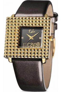 Ρολόι JUST CAVALLI Με Μαύρο Λουράκι Τετράγωνο Χρυσό