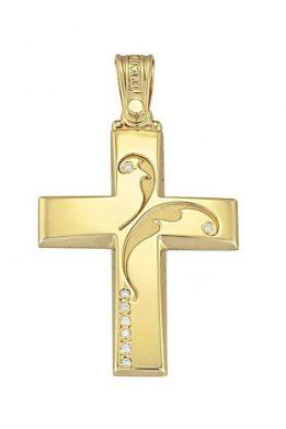 Γυναικείος Σταυρός Triantos Abstract Κίτρινος Χρυσός Με Ζιργκόν