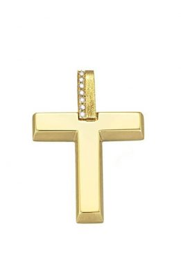 Σταυρός Triantos Γυναικείος Κίτρινος Χρυσός Με Ζιργκόν