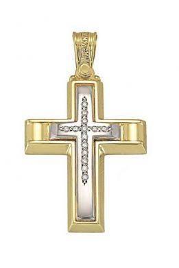 Γυναικείος Σταυρός Triantos Δίχρωμος Κίτρινος και Λευκός Χρυσός Με Ζιργκόν