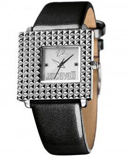 Ρολόι JUST CAVALLI Με Μαύρο Λουράκι Και Τετράγωνο Καντράν