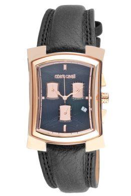 Ρολόι ROBERTO CAVALLI Ροζ Χρυσό Με Μαύρο Λουράκι