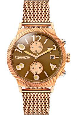 252a6d3f19 Γυναικείο Ρολόι BREEZE Bellatrix Multifunction Με Ροζ Χρυσό Μπρασελέ Και  Καφέ Καντράν