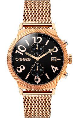 Γυναικείο Ρολόι BREEZE Bellatrix Multifunction Με Ροζ Χρυσό Μπρασελέ Και Μαύρο Καντράν