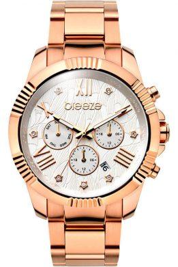Γυναικείο Ρολόι BREEZE Fascinator Dual Time Με Ροζ Χρυσό Μπρασελέ