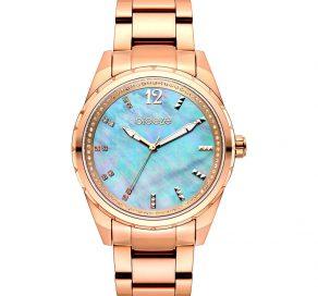 Γυναικείο Ρολόι BREEZE Estelle Crystals Με Ροζ Χρυσό Μπρασελέ Και Γαλάζιο Καντράν
