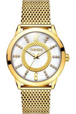 Γυναικείο Ρολόι BREEZE Essensia Crystals Με Χρυσό Mπρασελέ Και Λευκό Καντράν