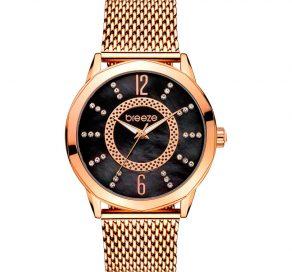 Γυναικείο Ρολόι BREEZE Essensia Crystals Με Ροζ Χρυσό Χρώμα Και Μαύρο Καντράν