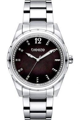 Γυναικείο Ρολόι BREEZE Estelle Crystals Με Ασημί Μπρασελέ Και Μαύρο Καντράν Με Φίλντισι