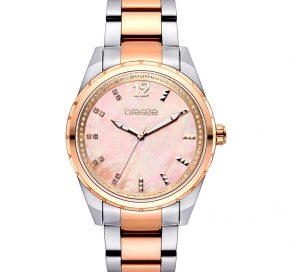 Γυναικείο Ρολόι BREEZE Estelle Crystals Με Δίχρωμο Ασημί Και Ροζ Χρυσό Μπρασελέ Και Ροζ Καντράν
