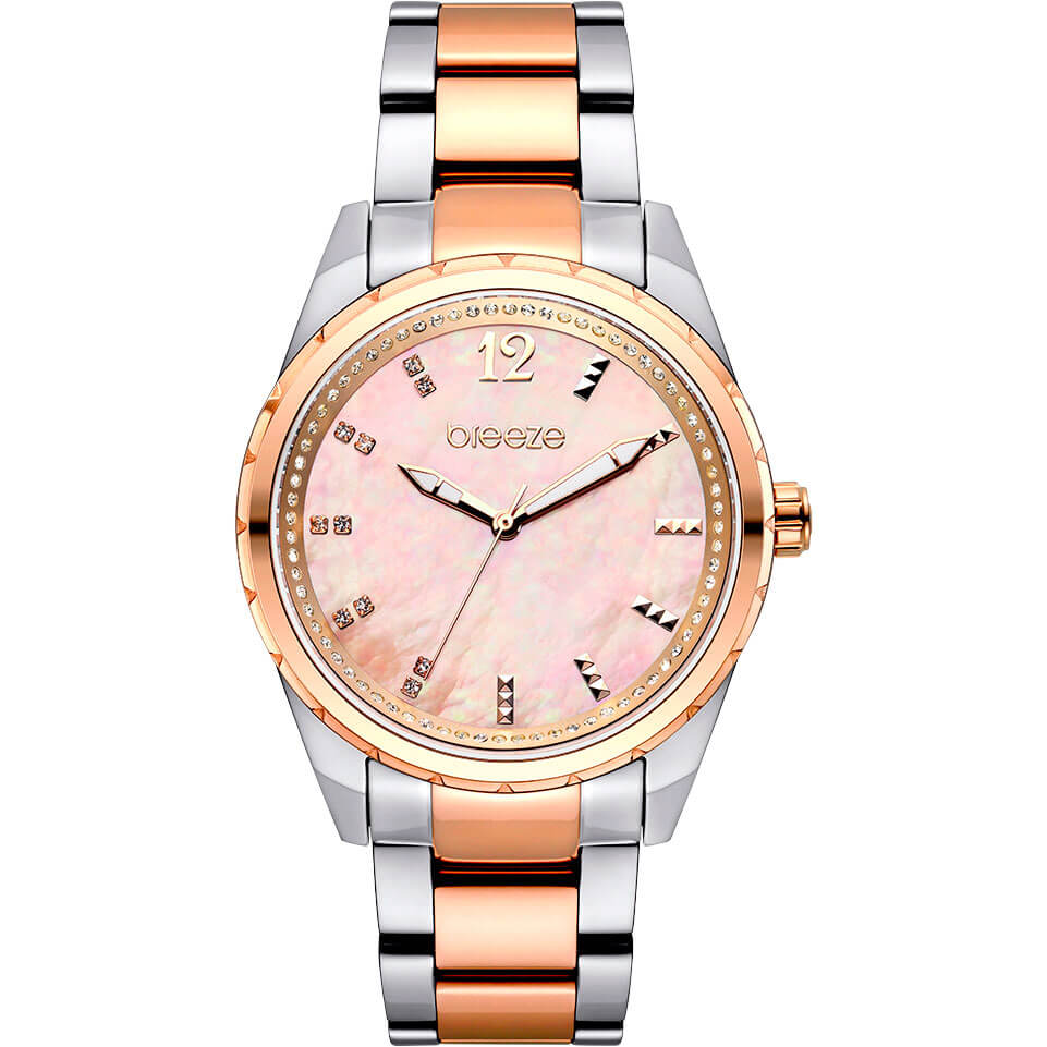 dcb1dc834a Γυναικείο Ρολόι BREEZE Estelle Crystals Με Δίχρωμο Ασημί Και Ροζ Χρυσό  Μπρασελέ Και Ροζ Καντράν