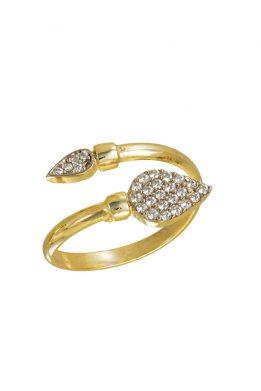 Δαχτυλίδι Χρυσό Με Μεγάλη Σταγόνα Και Λευκά Γυαλιστερά Ζιργκόν