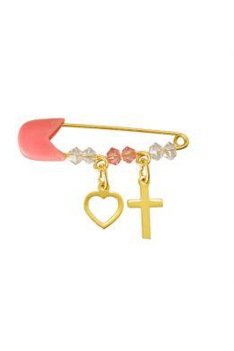 Παραμάνα Χρυσή Για Κορίτσι Με Καρδιά Και Σταυρό