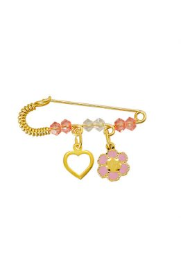 Παραμάνα Χρυσή Για Κορίτσι Με Καρδιά Και Λουλούδι