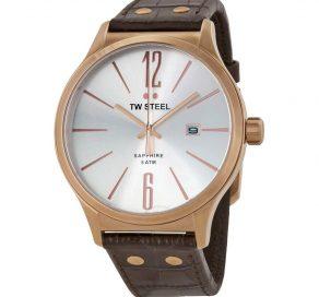 Ρολόι TW STEEL Unisex Slim Line Watch Με Καφέ Λουράκι