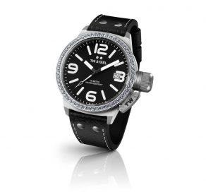 Γυναικείο Ρολόι TW STEEL Canteen Crystal Με Μαύρο Λουράκι