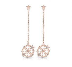 Σκουλαρίκια Κρεμαστά Guess Με Αστέρια Σε Ροζ Χρυσό Χρώμα