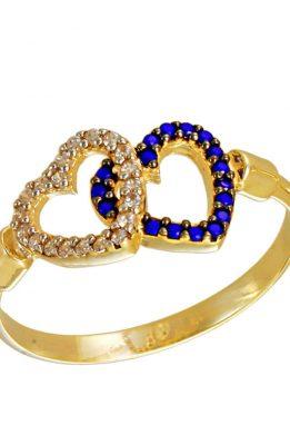 Δαχτυλίδι Χρυσό Με Καρδιές Και Λευκά Και Σκούρα Μπλε Ζιργκόν