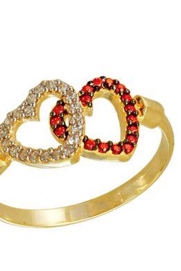Δαχτυλίδι Χρυσό Με Καρδιές Και Λευκά Και Κόκκινα Ζιργκόν