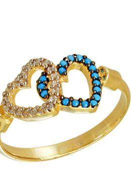 Δαχτυλίδι Χρυσό Με Καρδιές Και Λευκά Και Γαλάζια Ζιργκόν