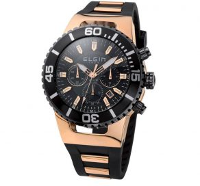Ρολόι ELGIN Ροζ Χρυσό Με Μαύρο Λουράκι