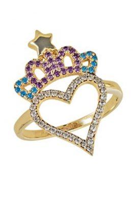 Χρυσό Δαχτυλίδι Καρδιά Με Κορώνα Και Ζιργκόν