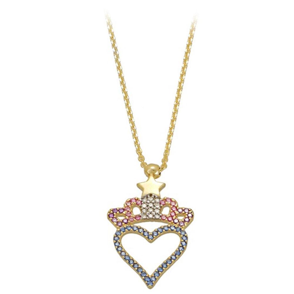 Χρυσό Μενταγιόν Καρδιά Με Κορώνα Και Μπλε Και Μωβ Και Ροζ Και Λευκά Ζιργκόν