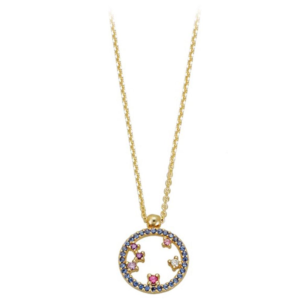 Χρυσό Μενταγιόν Κύκλος Με Μπλε Και Μωβ Και Λευκά Και Ροζ Ζιργκόν