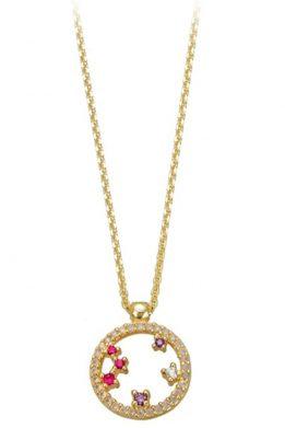 Χρυσό Μενταγιόν Κύκλος Με Λευκά Και Μωβ Και Ροζ Ζιργκόν