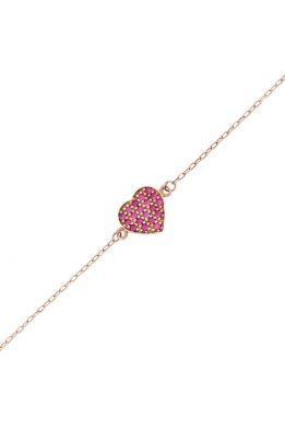Ροζ Χρυσό Βραχιόλι Με Καρδιά Και Ροζ Ζιργκόν